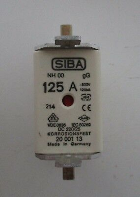 Siba Blade Fuses 125A NH00 gL/gG Combination Indicator