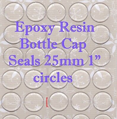 "60 Epoxy Resin Stickers 1"" (25mm) Circle Clear Dome For Bottle Caps & Cabachons"