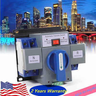 2P 110V 63A Dual Power Automatic Transfer Switch Changeover Switch For Generator