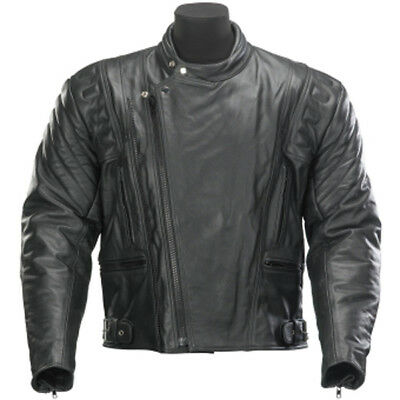 Spada Road Mens Leather CE Approved Armour Motorbike Motorcycle Jacket Black