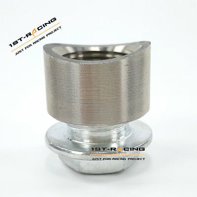 Stainless Steel Pre-Curved Notched O2 Oxygen Sensor Weld Bung Nut+Plug M18x1.5
