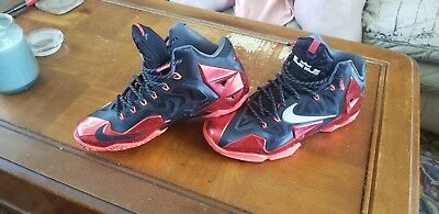 0c83c68c35e8 Nike Lebron XI 11 Miami Heat Away Sz 10 DS Black University Red Metallic  Silver