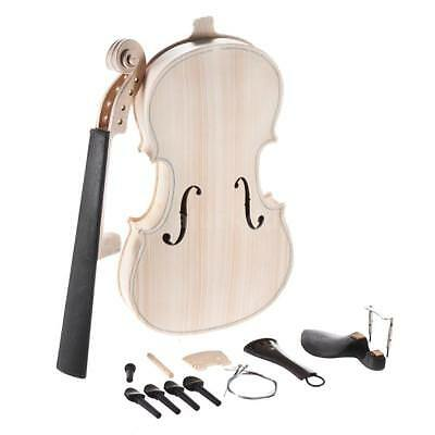 DIY 4/4 Full Size Natural Solid Wood Acoustic Violin Fiddle Kit wth Acces R7N9