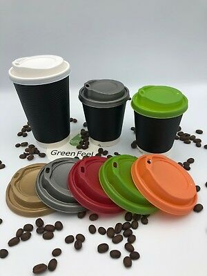 100 x RIPPLE WALL BLACK PAPER COFEE CUPS FOR HOT DRINKS INSULATED CUPS WITH LIDS