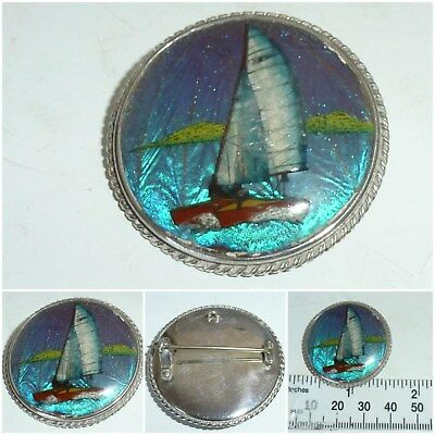 Art Deco Sterling Silver Butterfly Wing Brooch Yacht Sailing Ship Boat English