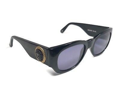 8f53a28681 New Vintage Gianni Versace 420 E Black Gold Medium 1990  s Italy Sunglasses