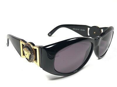 2972d4c9b5 NEW VINTAGE GIANNI Versace 424 M Black Gold 1990  s Italy Sunglasses ...