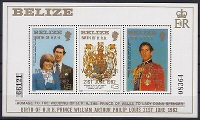 Belize Block 54 I **, Royal Wedding - Aufdruck / Overprint (15 ME)