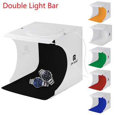 Double LED Light Room Photo Studio Photography Lighting Tent Backdrop Cube Case