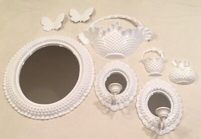 Home Interiors 8pc White Hobnail Grouping~Mirror Wall Sconces Butterfly Baskets