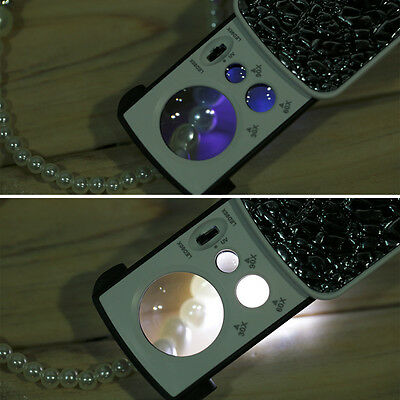 Magnifying Glass Lighted LED & UV 30x 60x 90x  Loupe coins stamps