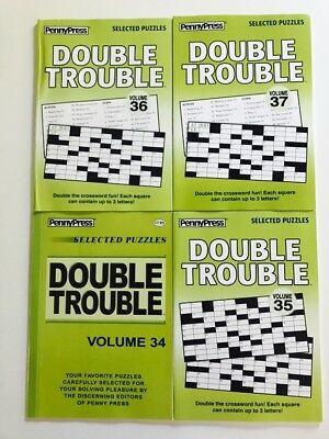 Lot of 4 DOUBLE TROUBLE Penny Press Selected Puzzles DELL Variety crosswords