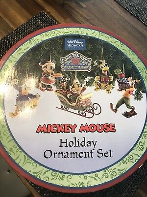New Jim Shore Disney Traditions Mickey Mouse Holiday Ornament Set Of 5