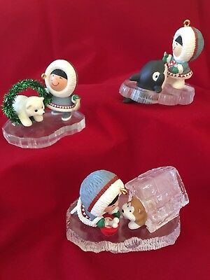 Hallmark Frosty Friends Ornaments 1992,1993 and 1994.