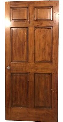 Antique Vtg Reclaimed Door Heavy Oak Six Beveled Panel Architectural Salvage