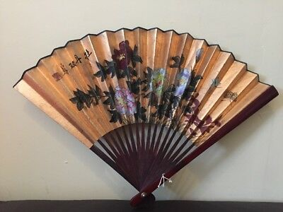 Vintage Japanese Chinese Hand Painted Folding Paper Fan