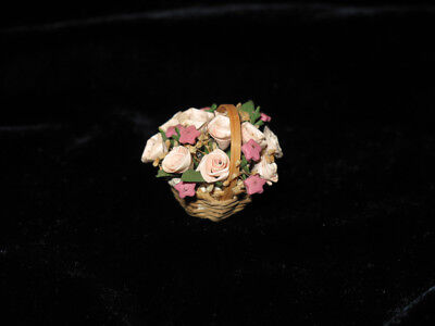 Vintage Dollhouse Miniature HANDMADE BASKET of PINK ROSES Artist made Brand New