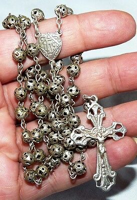 Antique Silver Plated Filigree Beads Rosary. Heart Shaped Medal