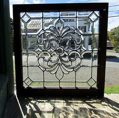 "FANCY VICTORIAN SQUARE BEVELED GLASS WINDOW 34"" sq"