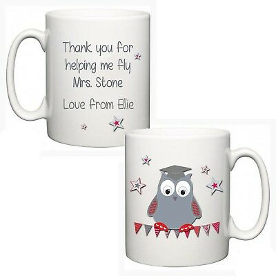 Personalised Thank You Teacher Mug End Of Term Present Gift Owl