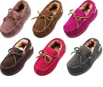 NORTY Toddler Little & Big Kid Boys Girls Suede Leather Moccasin Slip On Slipper