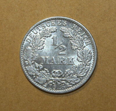 Germany 1/2 Mark 1918-J Uncirculated Silver Coin