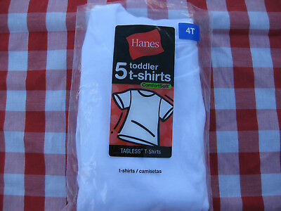 New Opened Package 4T Hanes Little Boys' Toddler Tagless T-Shirts White