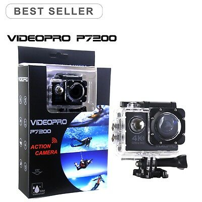 VIDEOPRO HD 4K 30fps WIFI Underwater Action Camera 16MP 2inch LCD Black as GoPro