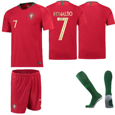 17-18 RONALDO 7 Football Kids Jersey Soccer Red Home Kits Boys Girls 5-14 Years