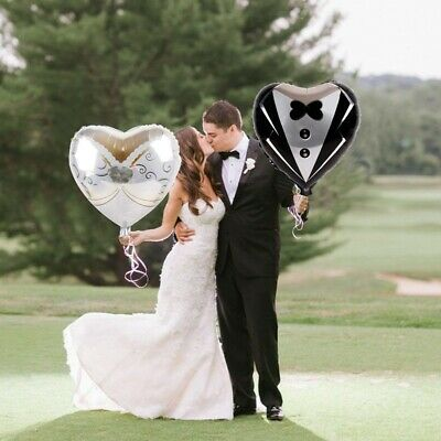 2PCS Heart Foil Balloons Marriage Groom Bride Tuxedo Dress Wedding Party Decor