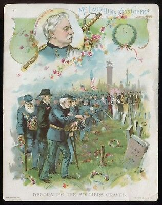 """Lot 42: 1890's McLaughlin's Coffee """"Decorating the soldiers graves"""" Trade Card"""