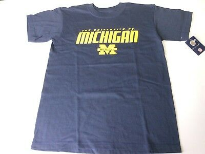 Michigan Wolverines Youth Navy Blue Front And Back Logo T-Shirt New