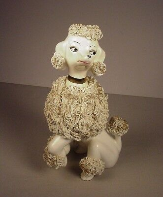Vintage Poodle Dog Giant ceramic figure figurine 9.5 Japan spaghetti trim 1950's