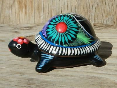 Black Turtle Mexican Folk Art Pottery Clay Painted Colorful Trinket Box Mexico