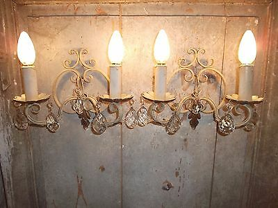 French wrought iron and crystals wall light a pair nicely detailed vintage