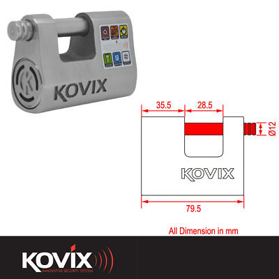 Kovix Alarm Padlock With 12Mm Locking Pin Motorcycle Motorbike Scooter Lock