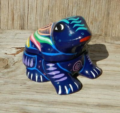 Blue Frog Mexican Folk Art Pottery Painted Colorful Trinket Box Glitter Mexico