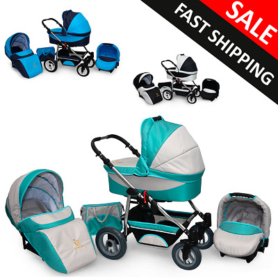 3in1 Pram Baby Car Seat Carrycot Travel System Pushchair Combi Buggy From Birth