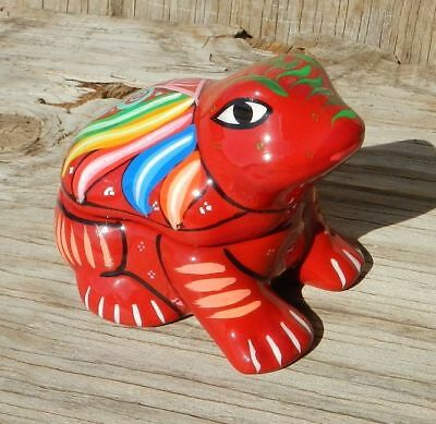 Red Frog Mexican Folk Art Pottery Painted Colorful Trinket Box Glitter Mexico