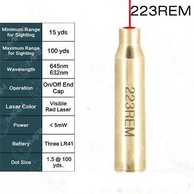 223 REM Laser Red Cartridge Bore Sight Sighter Brass Boresight For Hunting Scope