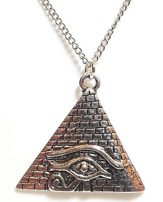 PYRAMID EYE OF HORUS_Pendant on Chain Necklace_Ra Ancient Egyptian Symbol Silver