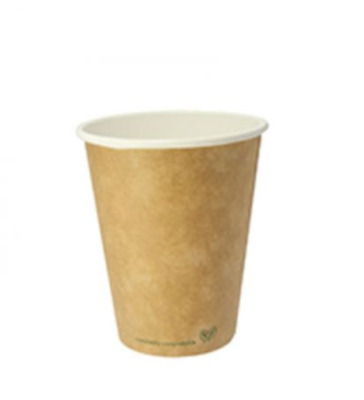 Vegware COMPOSTABLE BROWN SINGLE WALL HOT DISPOSABLE CUP - OPTIONAL LIDS