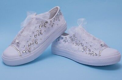 """Wedding Shoes Bridal Sneakers /""""Beads /& Pearls/"""""""