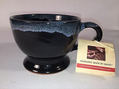 Hand Made in Nepal Pottery Mug Ten Thousand Villages Black w/Grey Drip