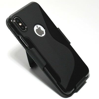 for iPhone X 10 Shockproof Slim TPU Gel Case with Slim Belt Clip Holster