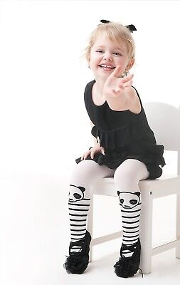 Girls White Tights By Knittex  SISI 40 Den Microfibre Puppy Pattern New