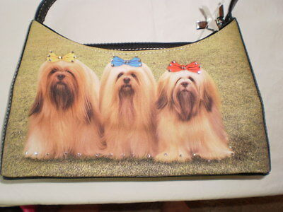 3 Lhasa Apso dogs on one bag Microfiber Handbag, zip, rhinestones. adorable