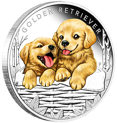 2018 Puppies - GOLDEN RETRIEVER Tuvalu 1/2 oz Silver Proof 50c Half Dollar Coin