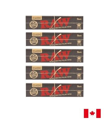 RAW Classic Black King Size Slim Rolling Papers - 5 Booklets