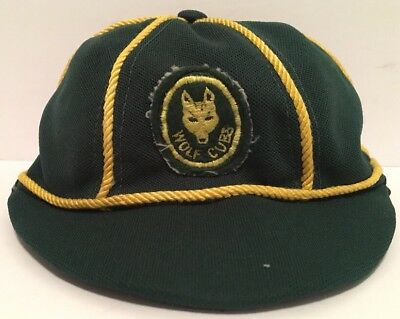 Vintage 1980's Canadian Boy Scouts Wolf Cub Green Gold Beanie Hat Cap RARE